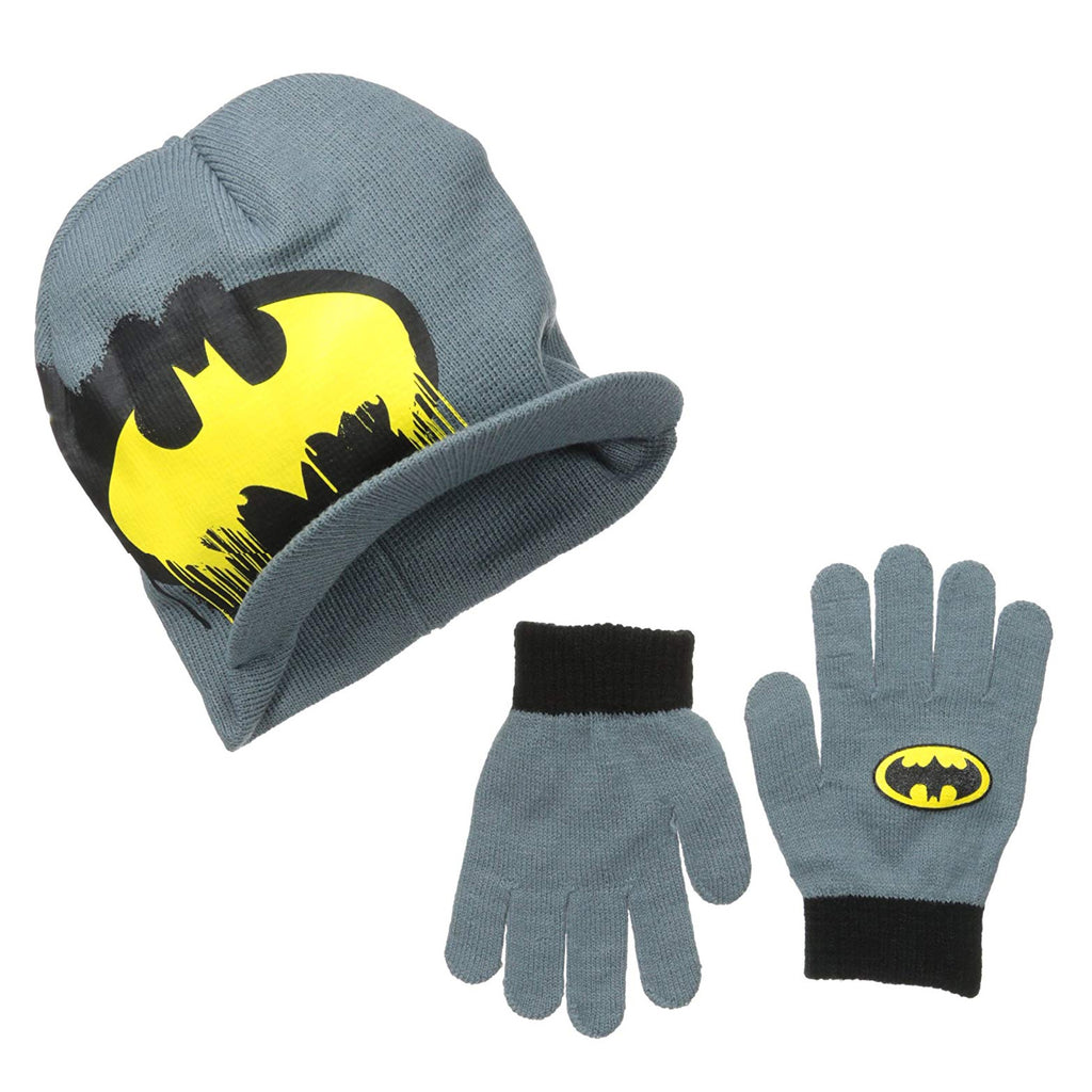 DC COMICS BATMAN BOYS 2-PIECE KNIT HAT BEANIE & GLOVES SET