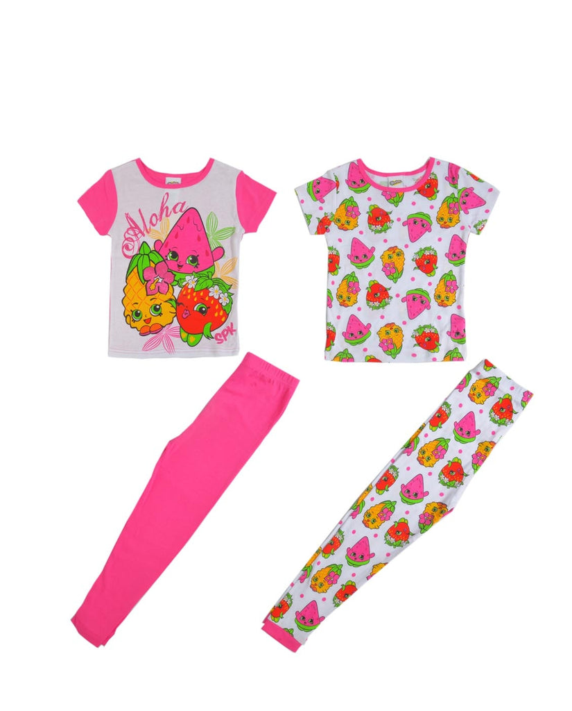 "SHOPKINS ""ALOHA PARTY SPK"" GIRLS 4-PIECE SHIRT & LEGGING PAJAMA SET"