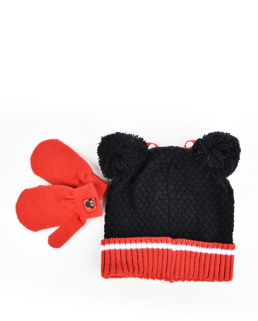 DISNEY MINNIE MOUSE KIDS HAT & MITTENS KNIT SET