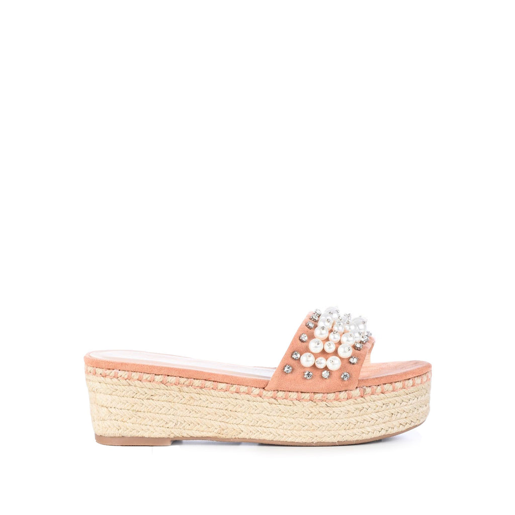 DND Fashion Wood Espadrille Platform Slip-on with Pearls