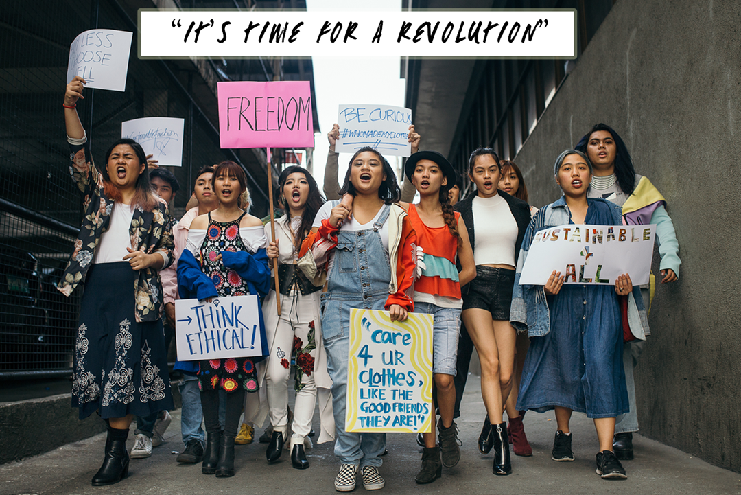 students protest with the Fashion Revolution