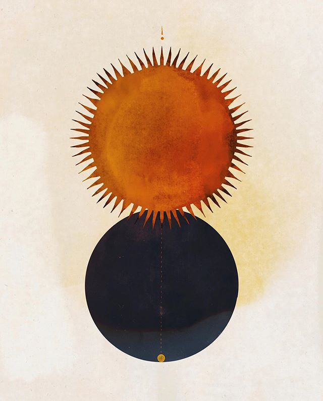 an original artwork of an orange sun and a black moon by Delta Venus