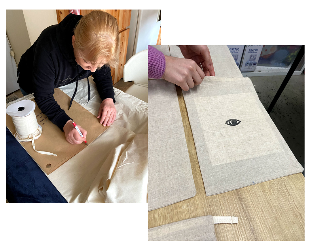 Amira produced the dust bags we use to package our leather goods