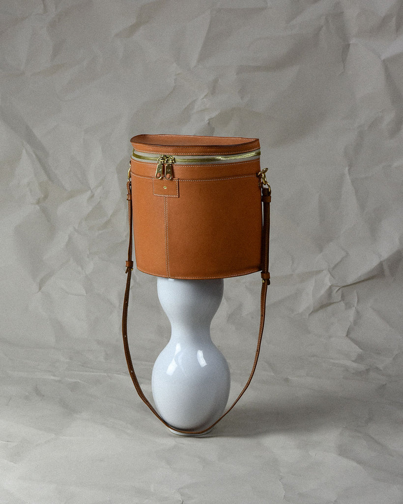 crescent moon bucket bag / clay