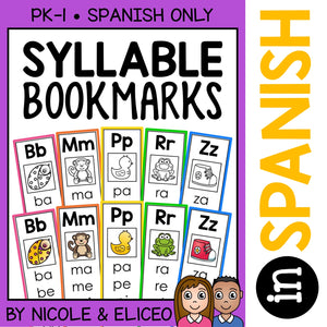 Spanish Syllable Word Work Bookmarks