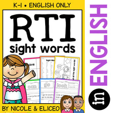 Load image into Gallery viewer, Kindergarten RTI Sight Words