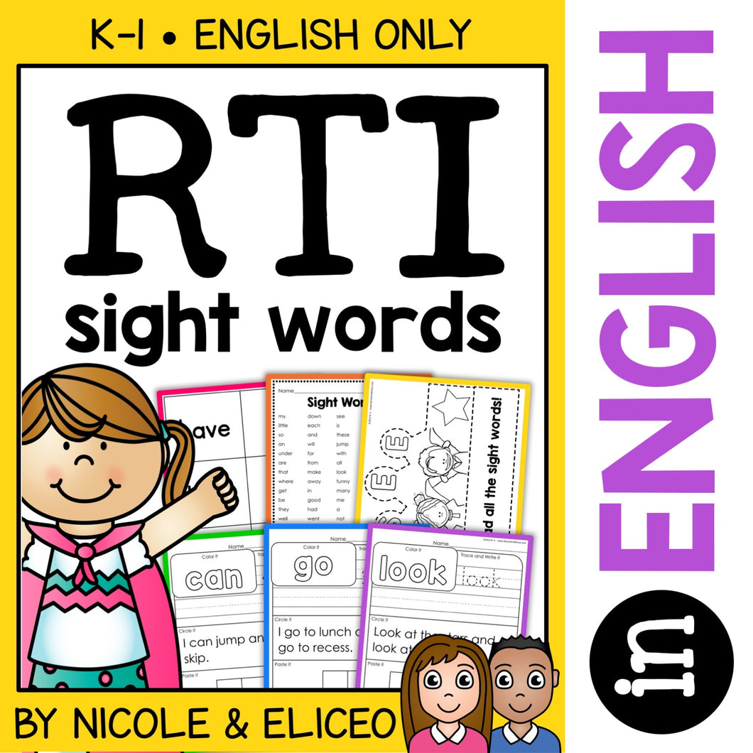 Kindergarten RTI Sight Words