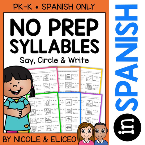 Spanish Syllable Worksheets 2