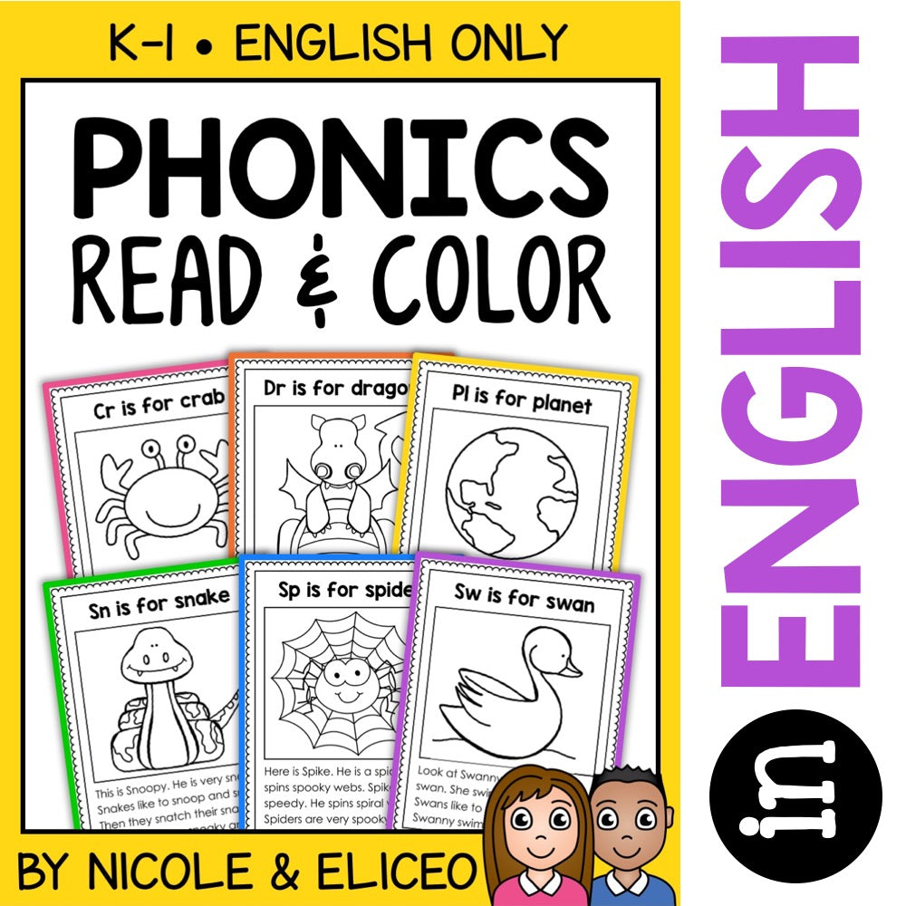 Blend & Digraph Phonics Stories Coloring Sheets