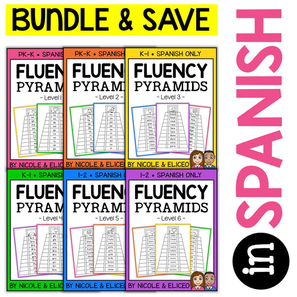 Spanish Reading Fluency Word Pyramid Bundle