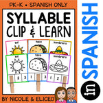 Spanish Syllable Clip It Cards
