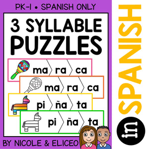Spanish Syllable Activity Puzzles 4