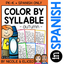 Load image into Gallery viewer, Fall Color by Spanish Syllable Activities