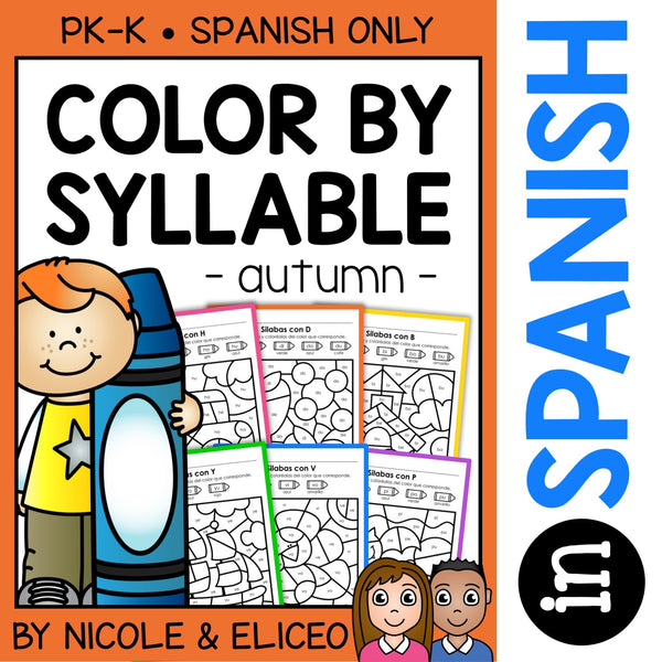 Fall Color by Spanish Syllable Activities