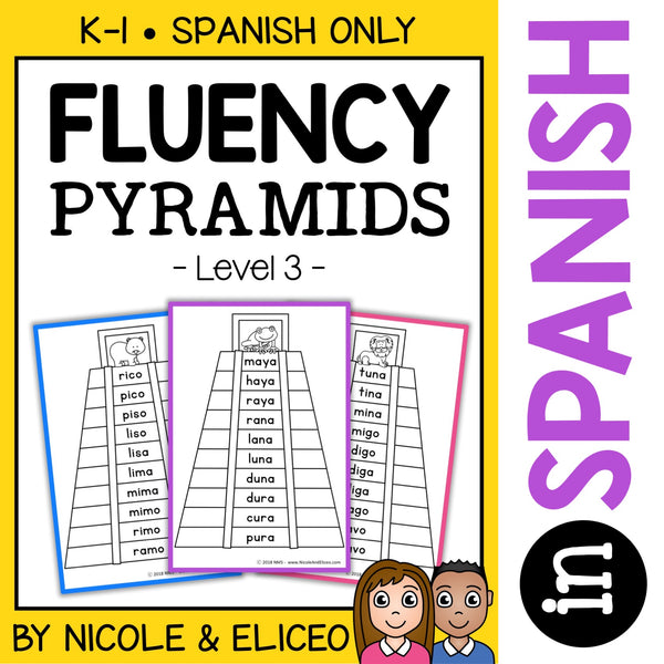 Spanish Reading Fluency Word Pyramids 3