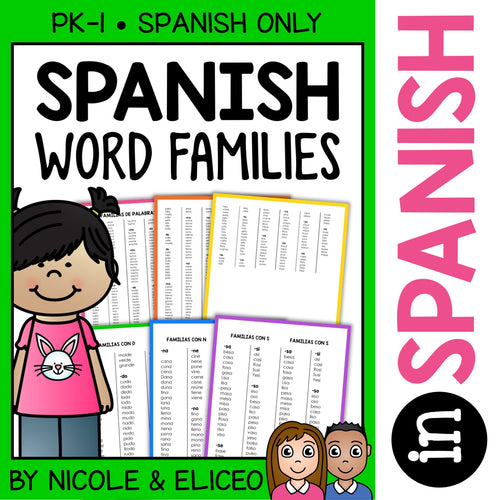 Spanish Word Family Lists