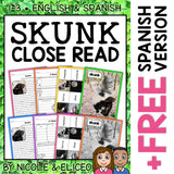 Skunk Close Reading Passage Activities