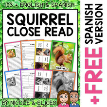 Load image into Gallery viewer, Squirrel Close Reading Passage Activities
