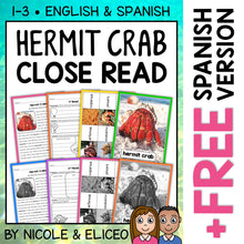 Load image into Gallery viewer, Hermit Crab Close Reading Passage Activities