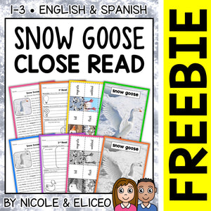 FREE Snow Goose Close Reading Passage Activities