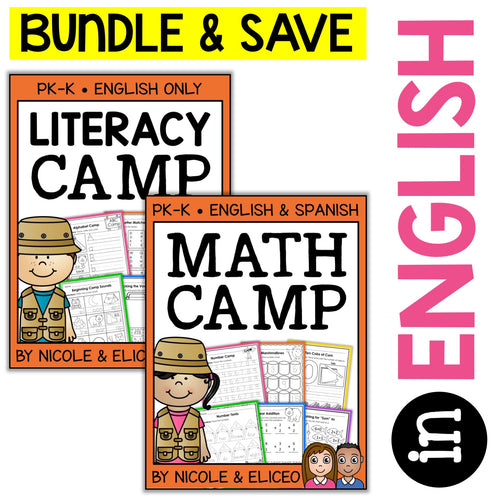 Camp Kindergarten Math and Literacy Bundle