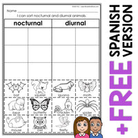 Nocturnal Animals Sort Activity