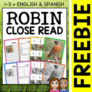 FREE Robin Close Reading Passage Activities