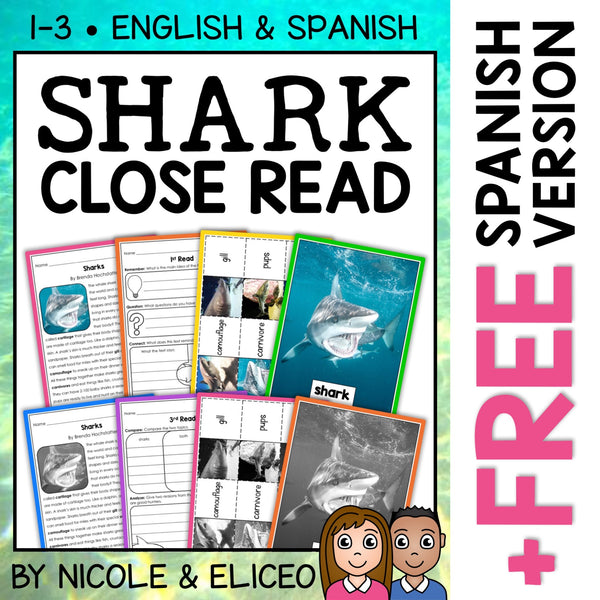 Shark Close Reading Passage Activities