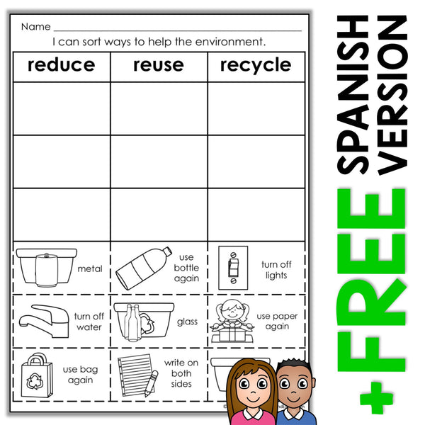 Reduce Reuse Recycle Sort Activity