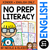 Kindergarten No Prep Literacy Packet