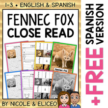 Load image into Gallery viewer, Fennec Fox Close Reading Passage Activities
