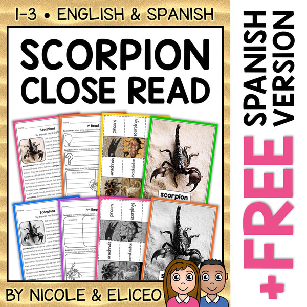 Scorpion Close Reading Passage Activities