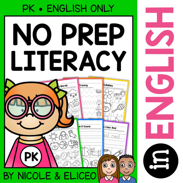 Preschool No Prep Literacy Packet