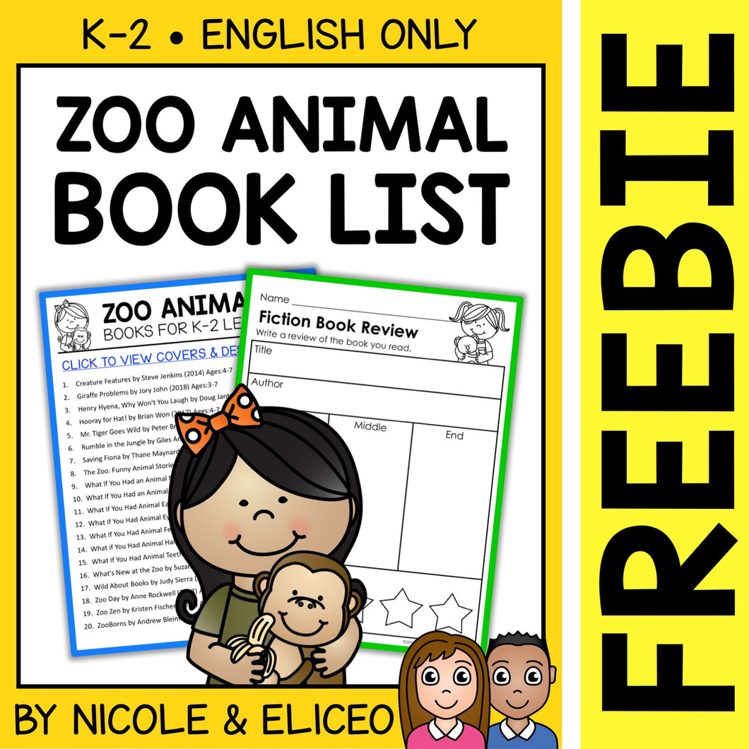 FREE Zoo Animal Activities and Book List