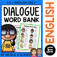 Dialogue Words Writing Anchor Chart