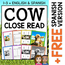 Load image into Gallery viewer, Cow Close Reading Passage Activities