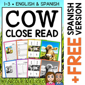 Cow Close Reading Passage Activities