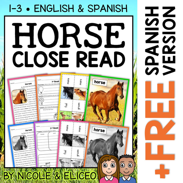 Horse Close Reading Passage Activities