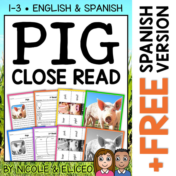 Pig Close Reading Passage Activities