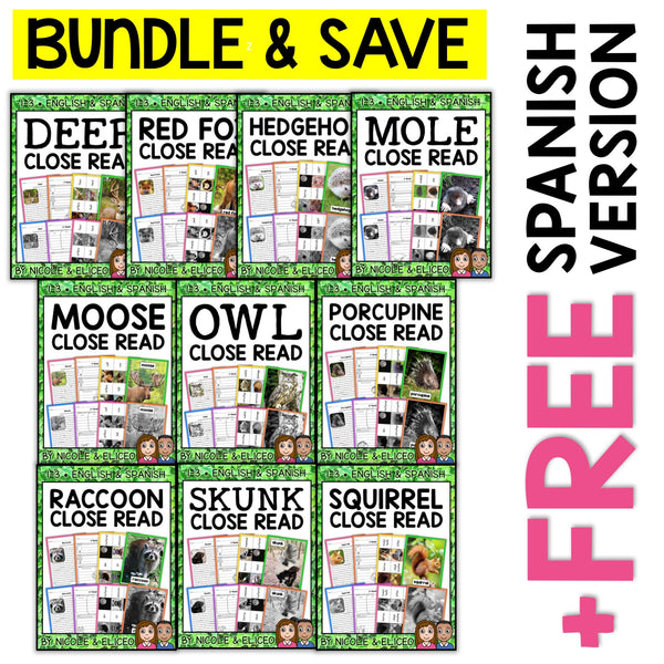 Forest Animal Close Reading Passages Bundle
