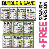 Jungle Animal Close Reading Passages Bundle