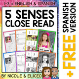 Five Senses Close Reading Passage Activities