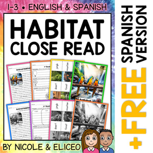 Animal Habitat Close Reading Passage Activities