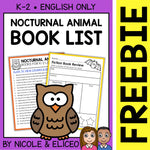 FREE Nocturnal Animal Activities and Book List
