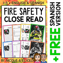 Load image into Gallery viewer, Fire Safety Close Reading Passage Activities