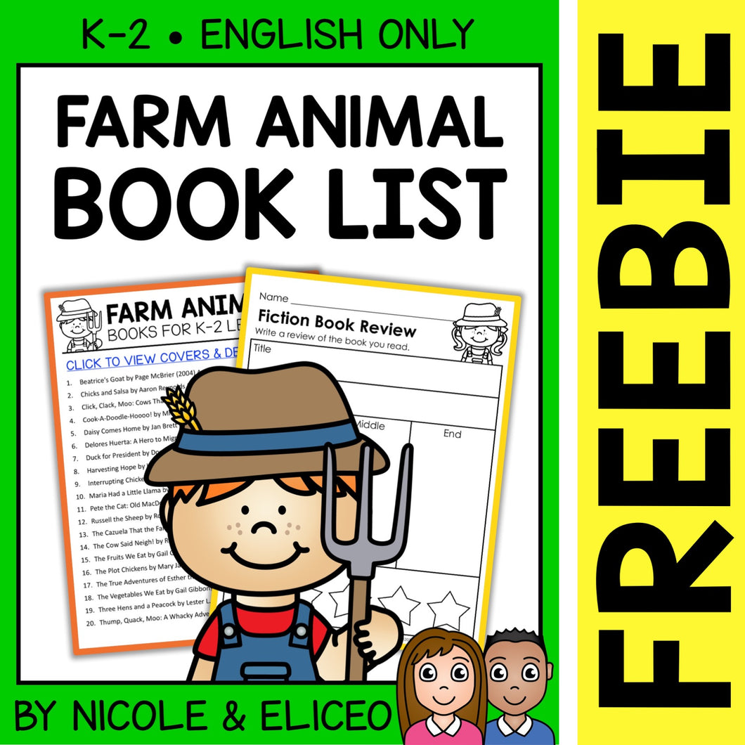 FREE Farm Animal Activities and Book List