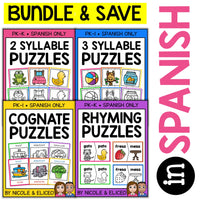 Spanish Word Work Puzzles Bundle 1
