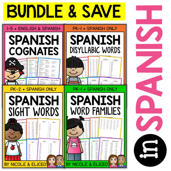 Spanish Teacher and Student Word Lists Bundle