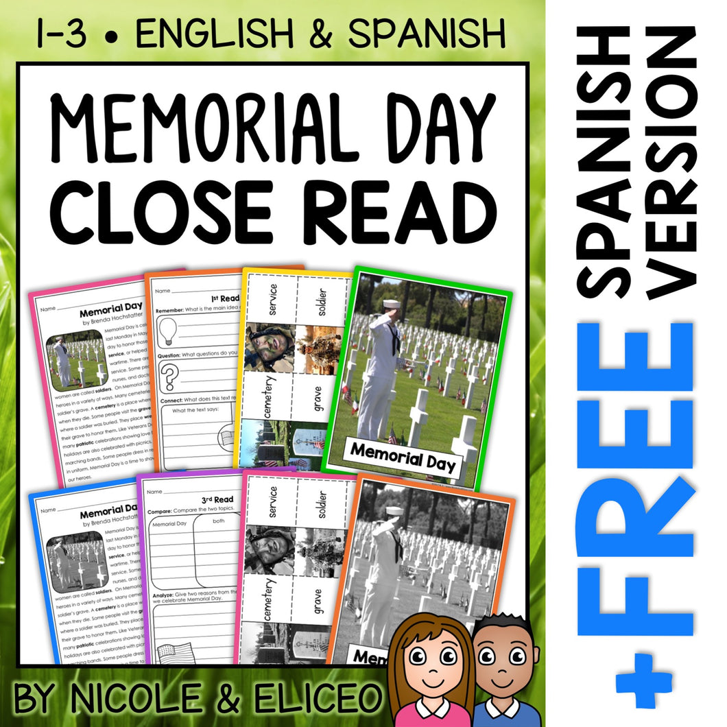 Memorial Day Close Reading Passage Activities