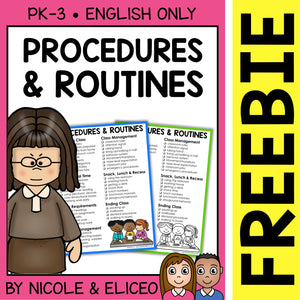 FREE Classroom Procedures and Routines Checklist